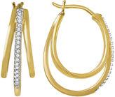 JCPenney FINE JEWELRY 1/10 CT. T.W. Diamond 14K Yellow Gold Over Sterling Silver Triple Hoop Earrings