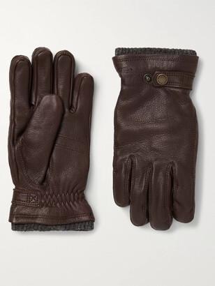 Hestra Utsjo Fleece-Lined Full-Grain Leather and Wool-Blend Gloves - Men - Brown