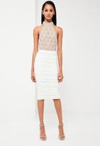 Missguided White Ruched Midi Skirt