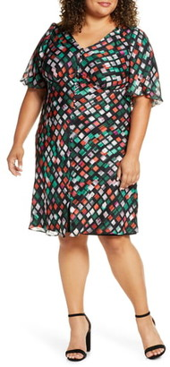 Maree Pour Toi Geo Pattern Button Front Dress