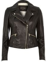 River Island Womens Black quilted leather biker jacket