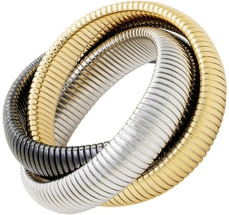 Janis Savitt High Polished Large Yellow Gold, Rhodium and Gunmetal Triple Cobra Bracelet