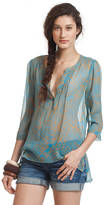 Plenty by Tracy Reese Printed Silk Peasant Blouse