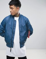 Alpha Industries Ma1-tt Bomber Jacket Slim Fit In Blue