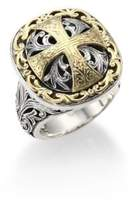 Konstantino Classics Daphne 18K Yellow Gold & Sterling Silver Filigree Cross Ring