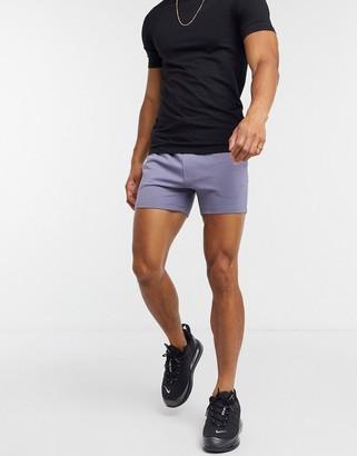 ASOS DESIGN jersey skinny shorts in shorter length in grey blue