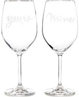 Kate Spade Two of a Kind Yours & Mine Wine Glasses, Set of 2