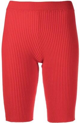 Ami Amalia Skin Tight Ribbed Knit Shorts