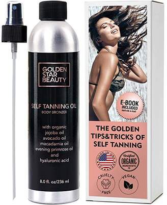 Self Tanner - Sunless Tanning Oil, Organic Spray Tan w/Hyaluronic Acid and Latex Gloves & eBook, No Fake Tan Smell Streak Free for Perfect Golden Tan 8.0 fl.oz