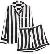 Iris and Ink Devon Striped Stretch-Silk Pajama Set