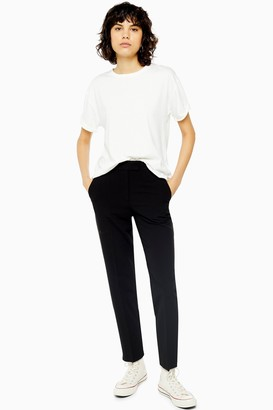 Topshop Womens Black Short Length Cigarette Trousers - Black