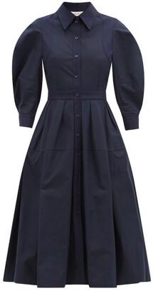 Alexander McQueen Balloon-sleeve Cotton-poplin Shirt Dress - Navy