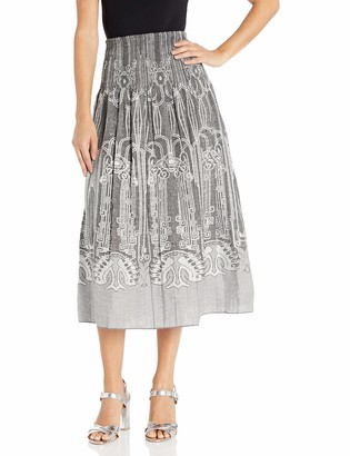 Max Studio Women's Smocked Jacquard Skirt