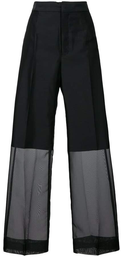Y's sheer wide leg trousers