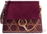 Chloé Faye Medium Studded Leather And Suede Shoulder Bag - Grape