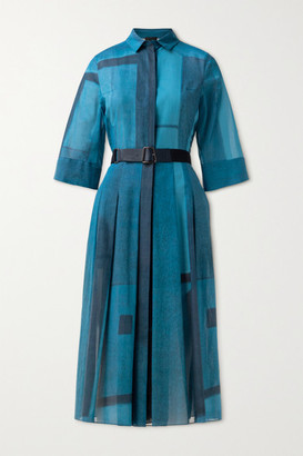 Akris Belted Pleated Printed Cotton-voile Shirt Dress - Blue