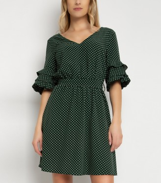 New Look Gini London Spot Tiered Sleeve Dress