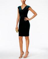 Jessica Howard Draped Cowl-Neck Velvet Dress
