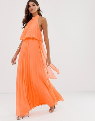 Asos Design DESIGN halter tie neck maxi dress in pleat-Orange