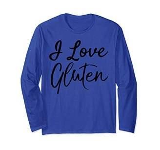 Funny Vegan Gift for Women Cute Vegetarian I Love Gluten Long Sleeve T-Shirt
