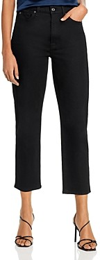 7 For All Mankind Cropped Straight Jeans in No Fade Black