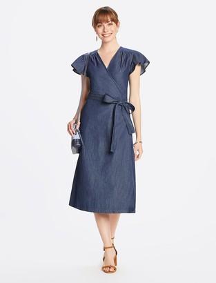 Draper James Chambray Midi Wrap Dress