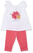 Mayoral Sleeveless Bright Girl Tee w/ Leggings, Pink/White, Size 6-24 Months