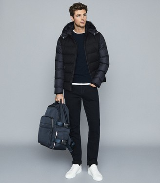 Reiss Meyrim - Padded Jacket With Removable Hood in Navy