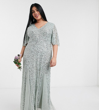 Maya plunge front flutter sleeve delicate sequin maxi dress in sage green