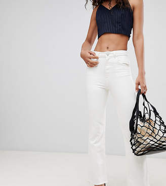Asos Tall DESIGN Tall Egerton rigid cropped flare jeans in off white with raw hem