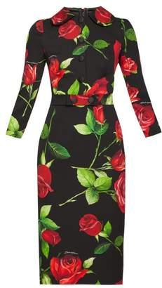 Dolce & Gabbana Rose-print Silk-blend Dress - Womens - Black Multi