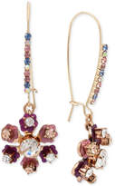 Betsey Johnson Gold-Tone Crystal Floral Drop Earrings