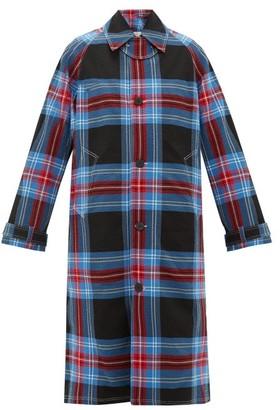 Charles Jeffrey Loverboy Tartan Cotton-blend Seersucker Overcoat - Blue Multi