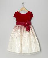 Jayne Copeland Red Velvet Glitter Tulle Cap-Sleeve Dress - Toddler & Girls