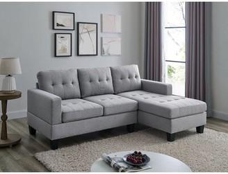 "Latitude Run 81"" Right Hand Facing Sofa & Chaise Fabric: Light Gray"