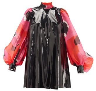 Elzinga - Pvc And Silk-organza Mini Dress - Black Pink