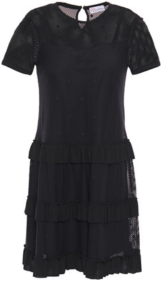 RED Valentino Tiered Embroidered Open-knit Mini Dress