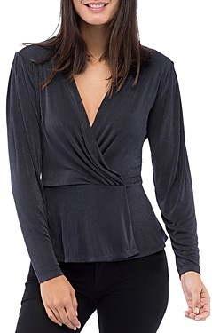 Bobeau B Collection by Mellie Faux Wrap Peplum Top