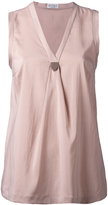 Brunello Cucinelli pinned V-neck top - women - Silk/Spandex/Elastane - M