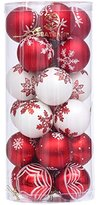 "Sea Team 60mm/2.36"" Delicate Contrast Color Theme Painting & Glittering Christmas Tree Pendants Decorative Hanging Christmas Baubles Balls Ornaments Set - 24 Pieces (Red & White)"