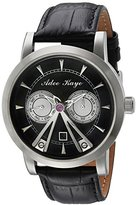 Adee Kaye Men's Automatic Stainless Steel and Leather Dress Watch, Color:Black (Model: AK8871-SVBK)