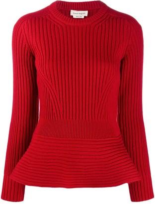Alexander McQueen Peplum Hem Knitted Jumper