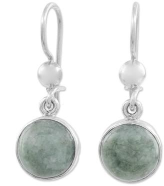Novica Handmade Jade Dangle Earrings, 'Smooth Circles'
