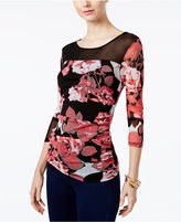 INC International Concepts Petite Printed Ruched Illusion Top, Only at Macy's