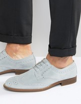 Asos Brogue Shoes In Relaxed Blue Suede With Natural Sole