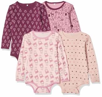Pippi Girls 4er Pack Baby Body mit Aufdruck Langarm Bodysuit