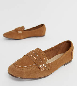 New Look contrast stitch loafer in tan