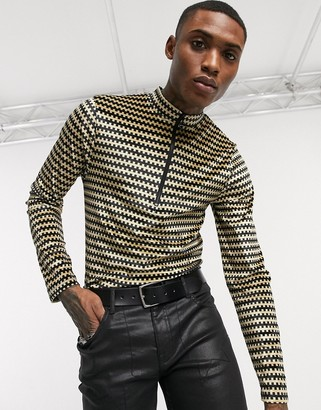 ASOS EDITION long sleeve turtle neck t-shirt with half zip in brown geo velour