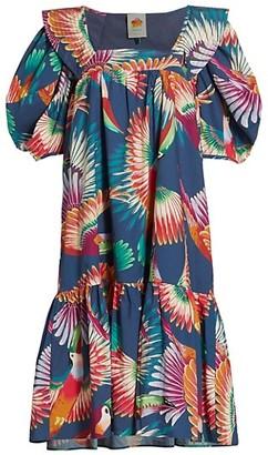 Farm Rio Toucan Puff-Sleeve Midi Dress