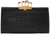 Alexander McQueen Black Croc Gold Knuckle Box Clutch